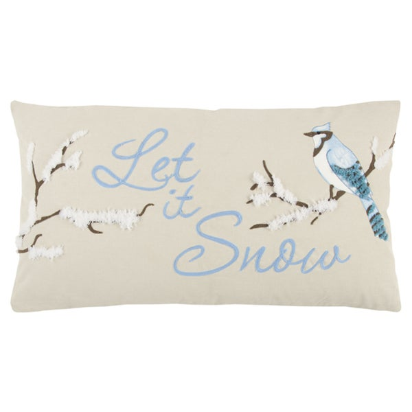 """Rizzy Home 14 X 26 inch Christmas Beige/Blue """"Let it Snow"""" Quotes/Saying Decorative Throw Pillow"""