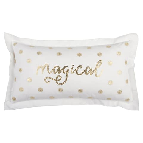 "Rizzy Home 14 X 26 inch Christmas White/Copper ""Magical"" Quotes/Sayings Decorative Throw Pillow"