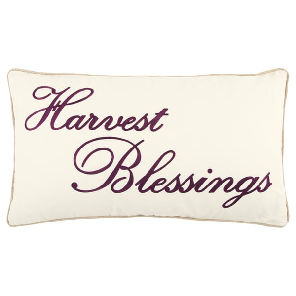 "Rizzy Home 14 X 26 inch Fall Harvest White/Red ""Harvest Blessings"" Quotes/Sayings Decorative Throw Pillow"