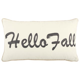 """Rizzy Home 14 X 26 inch Fall Harvest White/Grey """"Hello Fall"""" Quotes/Sayings Decorative Throw Pillow"""