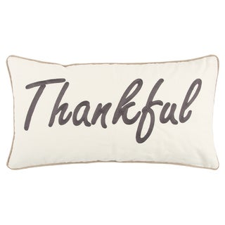 "Rizzy Home 14 X 26 inch Fall Harvest White/Grey ""Thankful"" Quotes/Sayings Decorative Throw Pillow"