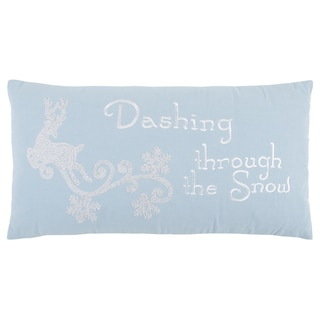 """Rizzy Home 14 X 26 inch Christmas Blue/White """"Dashing through the snow"""" Quotes/Sayings  Decorative Throw Pillow"""