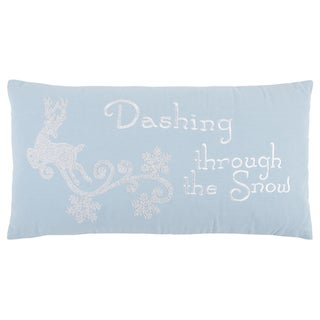 "Rizzy Home 14 X 26 inch Christmas Blue/White ""Dashing through the snow"" Quotes/Sayings Decorative Throw Pillow"