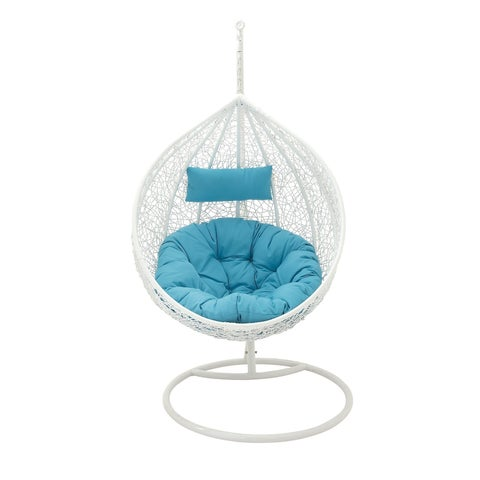 "42"" x 76"" Large White & Aqua Outdoor Single Pod Lounge Chair w/ Decorative Weave & Rattan Texture by Studio 350"