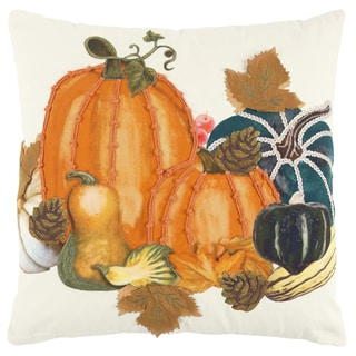 Rizzy Home 20 x 20 inch Fall Harvest Ivory/Orange Pumpkins Decorative Throw Pillow