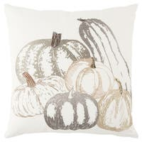 Rizzy Home 20 x 20  inch  Fall Harvest Ivory/Multi-colored Fall Pumpkin  Decorative Throw Pillow