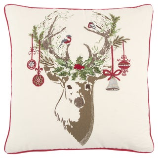 Rizzy Home 20 x 20 inch Christmas Ivory/Red Christmas Deer Decorative Throw Pillow