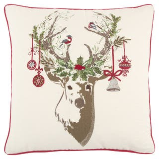 Rizzy Home 20 x 20 inch Christmas Ivory/Red Christmas Deer Decorative Throw Pillow|https://ak1.ostkcdn.com/images/products/17630181/P23844818.jpg?impolicy=medium