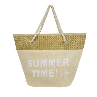 Summertime Straw Cotton Beach Tote