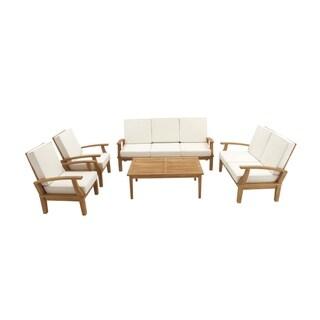 Studio 350 Oak Brown and Ivory Teak 77-inch, 54-inch, 30-inch Wide 5-piece Sofa Set