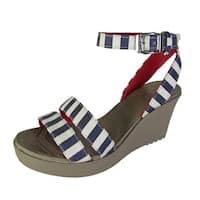 Crocs Womens Leigh Graphic Wedge Open Toe Shoes