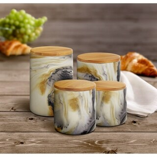 Marble Tortoise 4 PC Canister Set