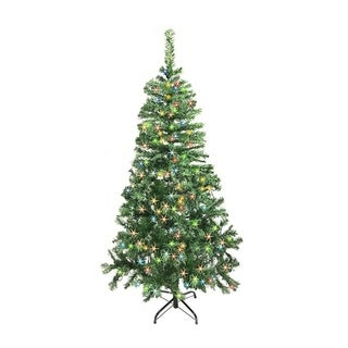 ALEKO Artificial 5' Christmas Holiday Pine Tree With Multicolor Lights