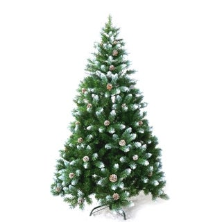 ALEKO 8' Christmas Holiday Pine Tree With White Tips and Pine Cones