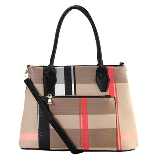 Diophy PU Leather Plaid Pattern Multi Spaced Large Tote Bag with Front Pocket