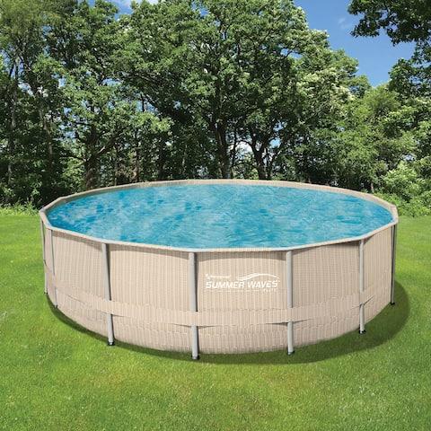 Light Wicker 18-ft Round Metal Frame Pool Package - 52-in Deep