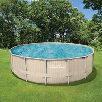 Light Wicker 18-ft Round Metal Frame Pool Package - 52-in Deep