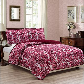 RT Designers Collection Blossom Printed 3-Piece Reversible Quilt Set