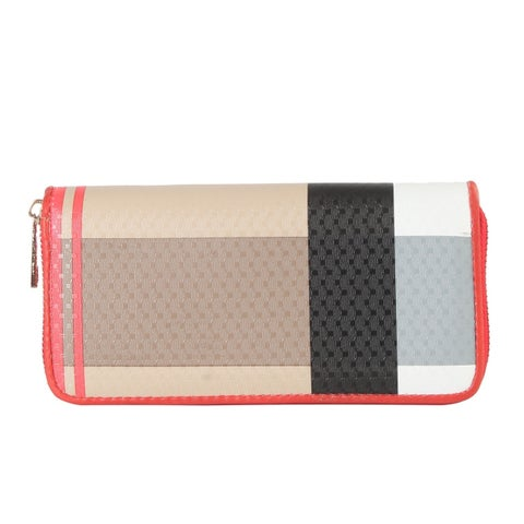 Diophy PU Leather Plaid Pattern Round -Zipper Wallet