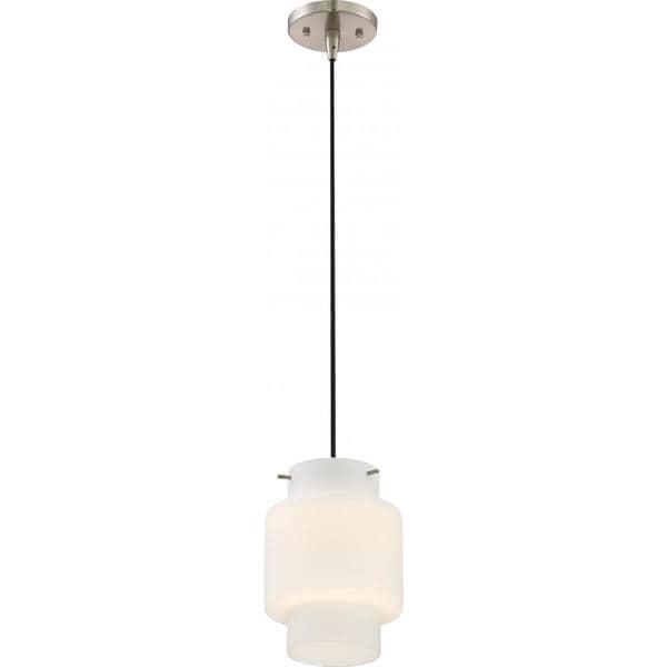 Nuvo Lighting Del Brushed Nickel White Opal Glass LED Mini Pendant