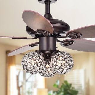 "Casimer 5-blade 3-light Crystal Bronze 42"" Ceiling Fan ( 2 Color Option Blades)"