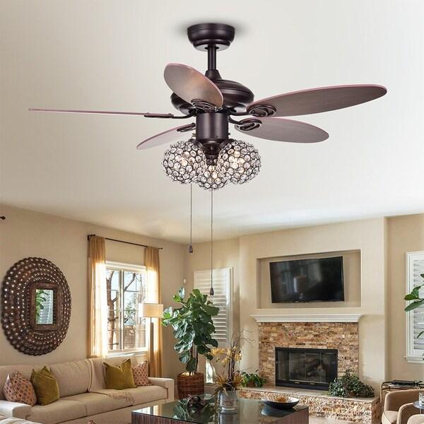casimer 5 blade 3 light crystal bronze 42 ceiling fan - Living Room Fan Light