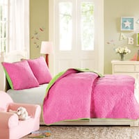 Hampton Hill Dot Pink/ Green Cotton Printed Quilted Reversible Coverlet Set