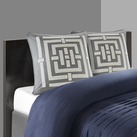 N Natori Nara Grey Embroidered Cotton 26 Inch Euro Sham With Hidden Zipper Closure