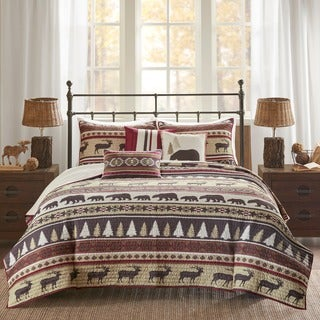 Madison Park Butte Red 6 Pieces Printed Herringbone Coverlet Set