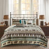 Madison Park Butte Teal 6 Pieces Printed Herringbone Coverlet Set