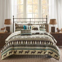 Madison Park Butte Teal 6 Pieces Printed Herringbone Duvet Cover Set