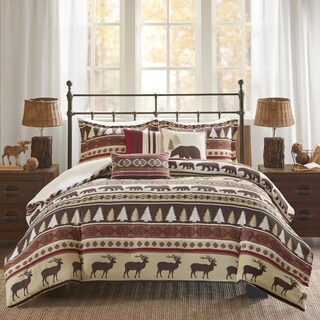 Madison Park Butte Red 6 Pieces Printed Herringbone Duvet Cover Set