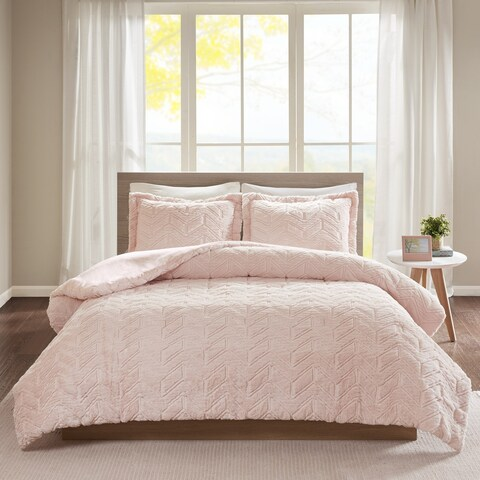 Intelligent Design Kylie Embroidered Chevron Ultra Plush Comforter Set 2-Color Option