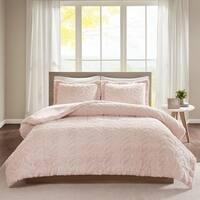 Intelligent Design Kylie Embroidered Chevron Ultra Plush Comforter Set 2-Color Option