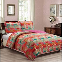RT Designers Collection Indie Printed 3-Piece Reversible Quilt Set