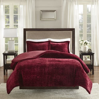 Madison Park Lillian Burgundy Burnout Medallion Plush Comforter Set
