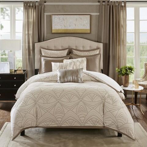 Madison Park Signature Glamorous Natural Embroidered Comforter Set