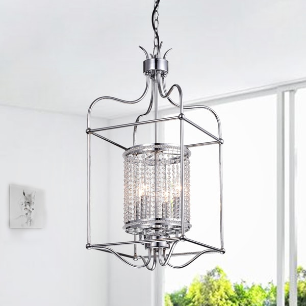 Dafne 4-Light 13-Inch Chrome Box Cage Pendant