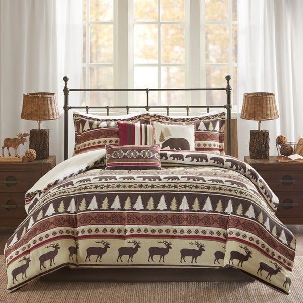 Madison Park Butte Red 7-piece Printed Herringbone Comforter Set