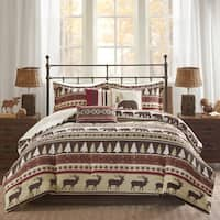 Madison Park Butte Red 7-piece Printed Herringbone Comforter Set