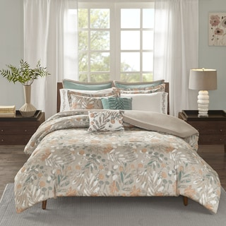 Madison Park Robin Spice 9 Pieces Cotton Sateen Printed Duvet Cover Set