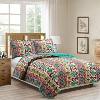RT Designers Collection Boho Printed 3-Piece Reversible Quilt Set