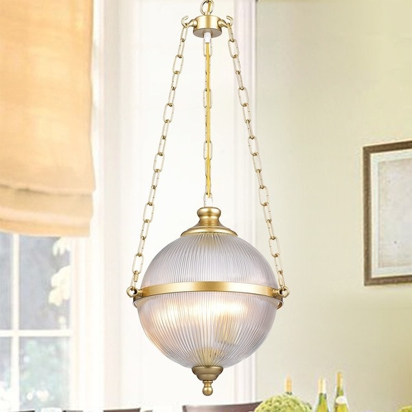 Bindral 2-Light 18-Inch Glass Globe Natural Bronze Pendant