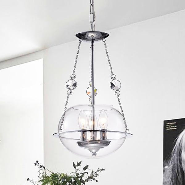 Sichar 3-Light 11-Inch Glass Bowl Chrome Pendant