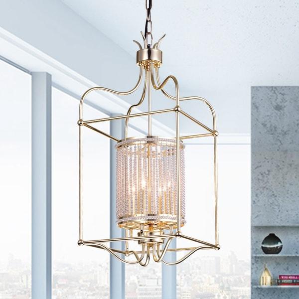 Dafne 4-Light 13-Inch Champagne Gold Box Cage Pendant