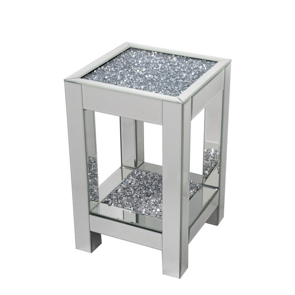 Best Quality Furniture Mirrored End Table with Encased Crystals
