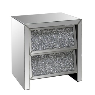 2-drawer Mirrored End Table with Crystal Accents