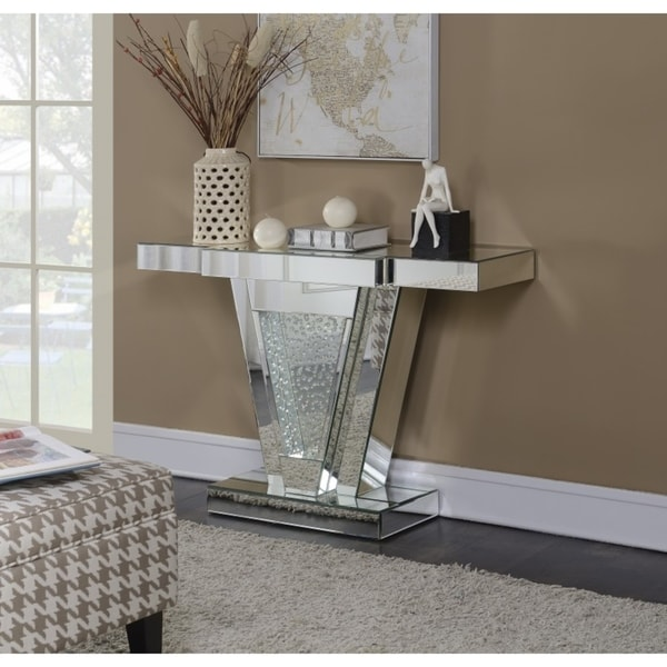 Best Quality Furniture Mirrored Console Table With Crystal Accent