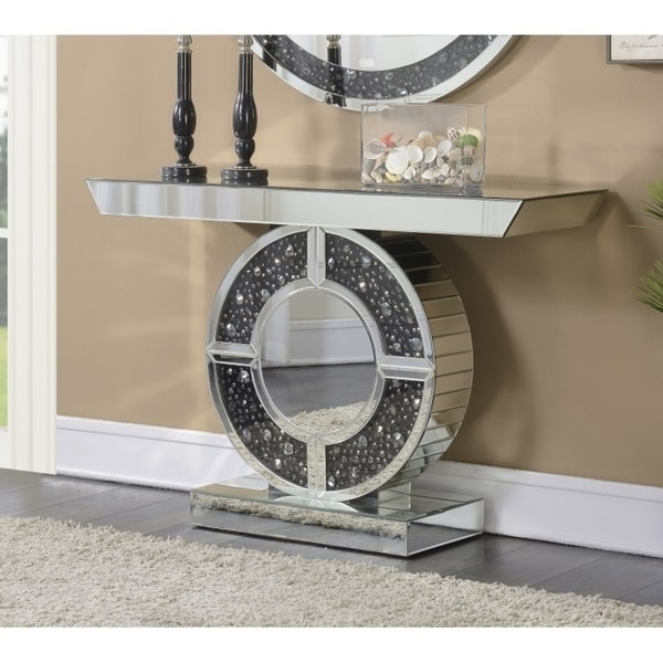Shop Silver And Black Mirrored Console Table With Crystal Accent