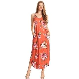 Women's Floral Pattern Sleeveless Maxi Dress